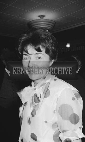 14th November 1964; A woman smiles for the camera at the Denny's Social in the Meadowlands Hotel, Tralee.