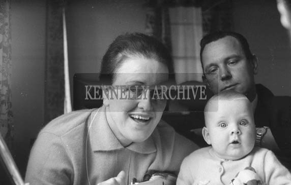 November 1964; A Studio Photo of Joe and Nora Treacy, St Brendan's Park, with their son Mark.