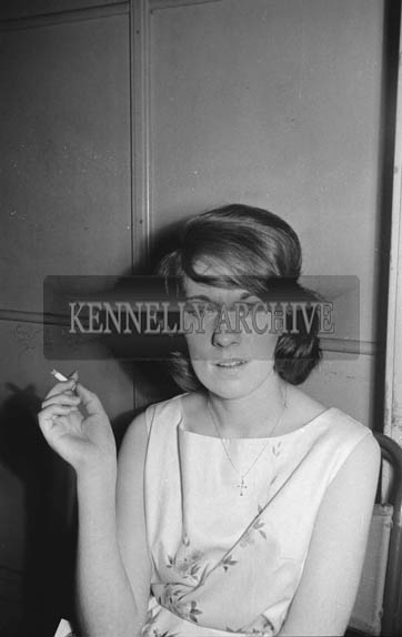 22nd November 1964; A  photo of a woman at the Basketball Dance in the CYMS, Tralee.