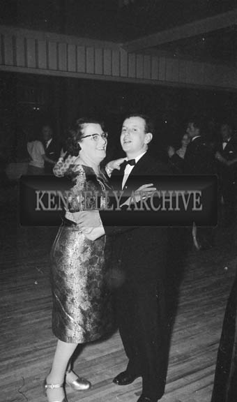 24th November 1964; George Rice and Nancy Caball enjoying themselves at the Kerry Banker's Dress Dance in the White Sands Hotel, Ballyheigue. Music was by the Troubadours Dance Band, Tralee.