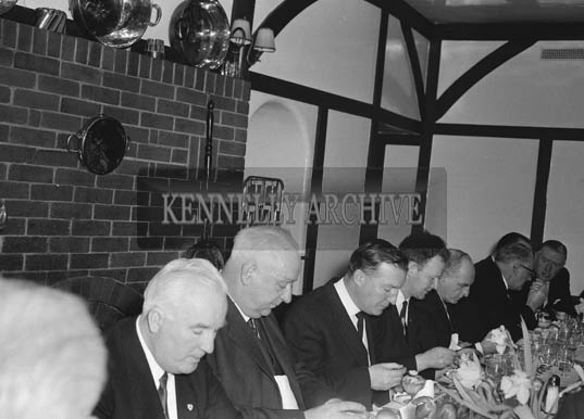 1st February 1964; A photo taken at the Tralee Chamber of Commerce Dinner in Benner's Hotel, Tralee. Mr. Charles J. Haughey is seated third from left.