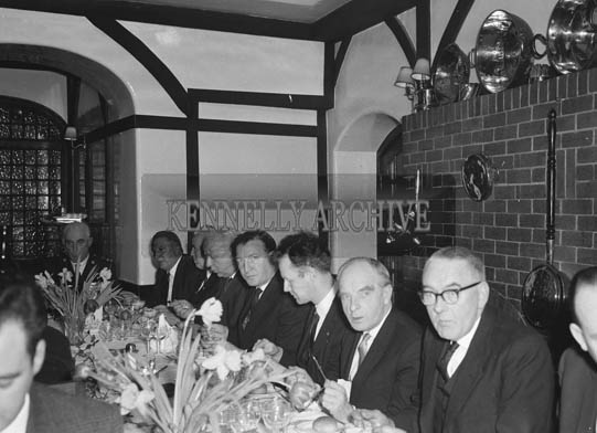 1st February 1964; A photo taken at the Tralee Chamber of Commerce Dinner in Benner's Hotel, Tralee. Mr. Charles J. Haughey is seated fifth from left of the photo.