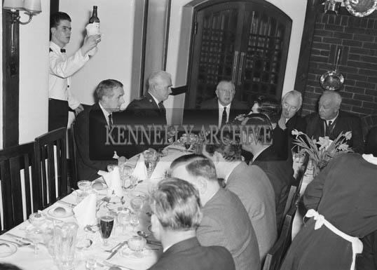 1st February 1964; A photo taken at the Tralee Chamber of Commerce Dinner in Benner's Hotel, Tralee.