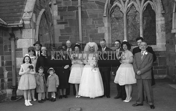 February 1964; A photo taken at a wedding in St. John's Church in Tralee.