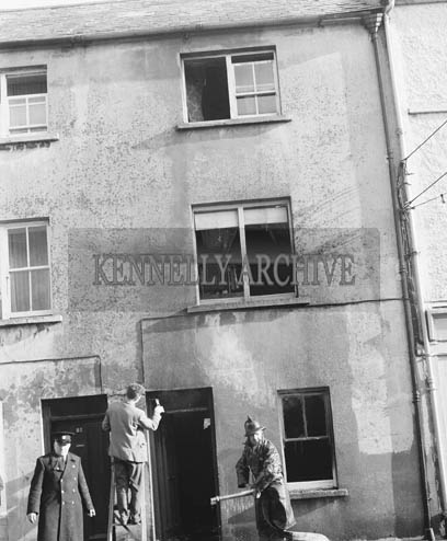 February 1964; A photo taken after a house fire in Tralee.