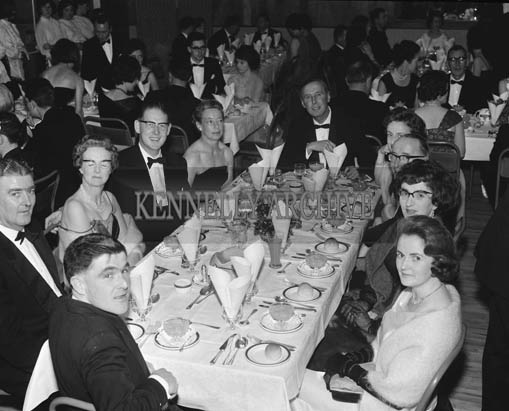 24th November 1964; Frank and Celia Gleasure (front) with a group at the Kerry Banker's Dress Dance in the White Sands Hotel, Ballyheigue. Music was by the Troubadours Dance Band, Tralee.