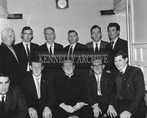 25th November 1964; The committee who organised the Ballymacelligott GAA Dinner and Dance in the Hotel Manhattan, Tralee. Front row from left: Ted O'Keefe, Jerry Savage (Chairman), Rev. Fr. D. Murphy (President), Tom Dowling (Secretary), Roger Rahilly. Back row: Paddy Groves (Vice-President), Jim Vale, Tom Connor (Treasurer), S. Byrne, M. Lynch (Vice-Chairman), P. O'Donnell.