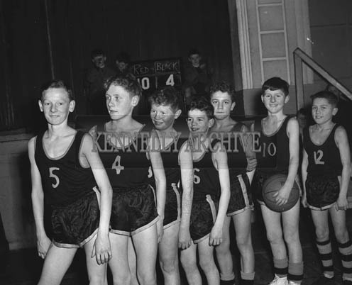 16th February 1964; L. Collin's Team, who won the Rock Juvenile Basketball League in the CYMS Tralee. L to R: G. Dennehy, T. Sheehan, M. Switzer, T. Revington, Jackie Power, L. Collins and Ger Power.