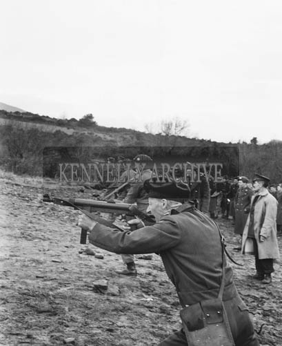 24th February 1964; A photo of FCA Recruits on a shooting test at the Range in Ballydunlea, Tralee.