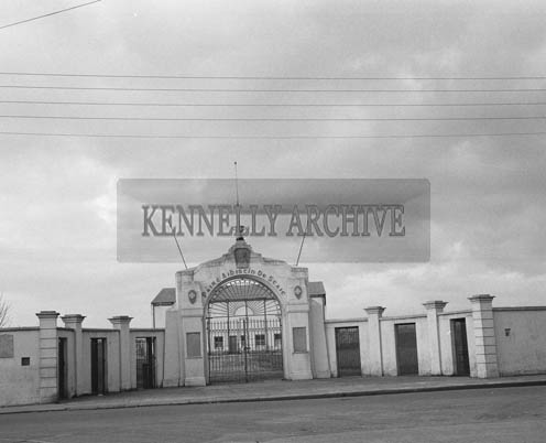 1st March 1964; A photo of the gate of Austin Stack Park in Tralee, taken on the day of the Kerry Colleges Football Championships.