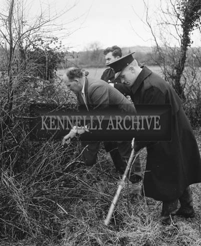 2nd March 1964; Gardai, led by Supt. John P. McMahon, probing around the house, garden and fields of Edward Larkin in Boola, Firies. Mr. larkin collapsed at his farmhouse and died in hospital the following day, aged 37 years. A post-mortem did not reveal the cause of death.
