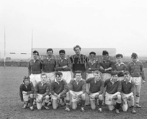 1st March 1964; The Castleisland Rugby Team who qualified for the second round of the Munster Junior Cup by beating Mallow at Castleisland. Con Houlihan is in the back row (fourth from left).
