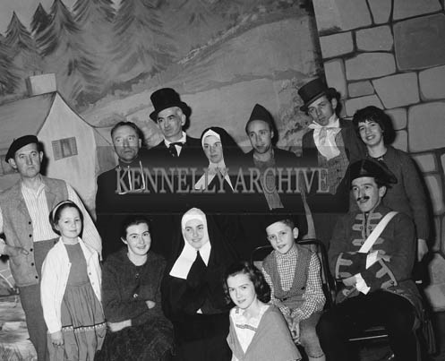 February 1964; A photo of a drama group rehearsing the Lourdes Pageant 'Massabielle'.