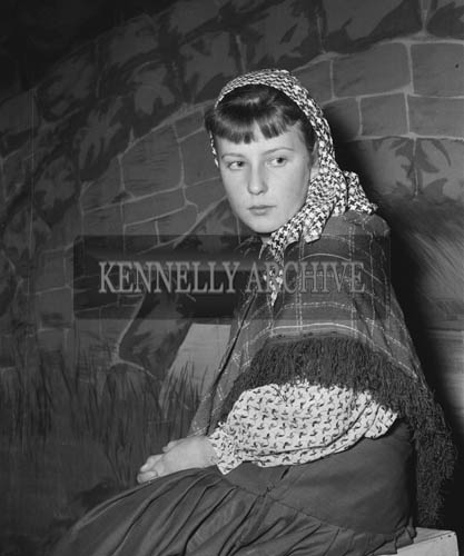 February 1964; A photo of Jacqueline O'Keefe who played Bernadette, rehearsing the Lourdes Pageant 'Massabielle'.