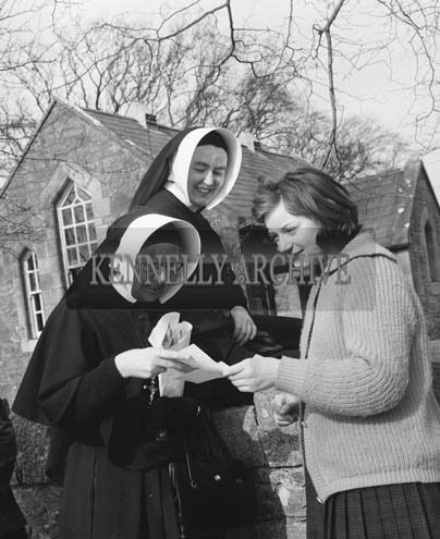 5th March 1964; A photo of nuns from South Africa visiting Ardfert National School. Sister Brendan is on the left and Sister St. Anne is on the right.