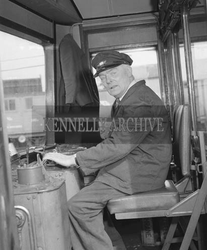 March 1964; A CIE Train Driver in Casement Station in Tralee.