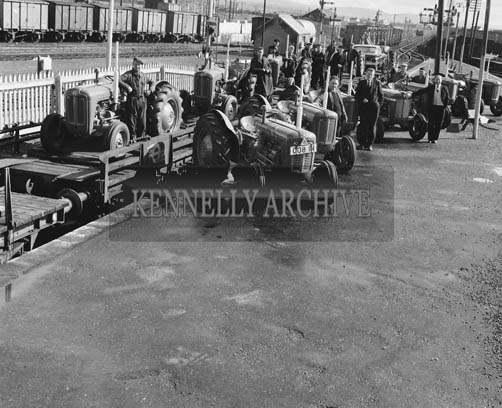 March 1964; Tractors for Horan's Garage in the CIE Depot in Tralee.
