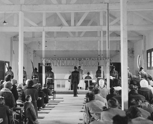 17th March 1964; A photo of the St. Patrick's Day Mass at Ballymullen Barracks, Tralee.
