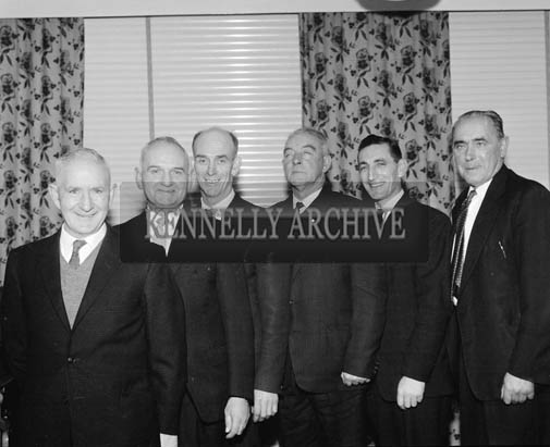 5th December 1964; The Kevin Barry Memorial Committee who organised their annual dinner and dance in the Meadowlands Hotel, Tralee. From left: Jack Moriarty, Denis Curran, John O'Sullivan, P. Kerins, Timothy Comerford and Michael Jennings.