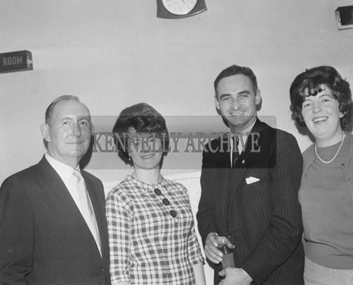 13th December 1964; Kerry Footballer Brian Sheehy (3rd from left) with friends at the John Mitchels GAA Club Social in the Hotel Manhattan, Tralee.