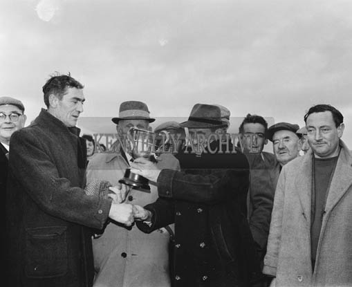 Tuesday 15th December 1964; A trophy presentation at a coursing meet in Lixnaw.