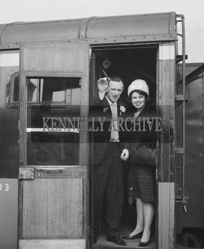 April 1964; A photo of a newly married couple leaving Tralee for their honeymoon.