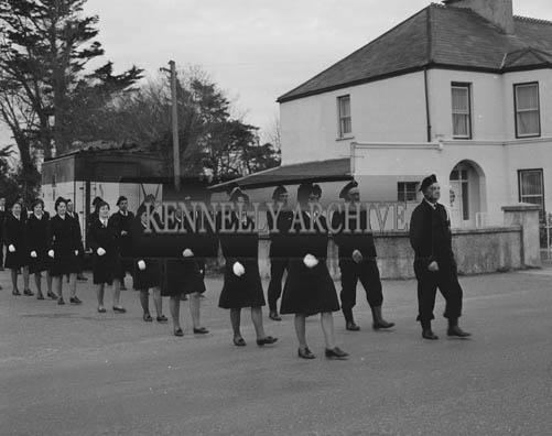 March 1964; A photo of a Civil Defence Parade in Oakpark, Tralee.