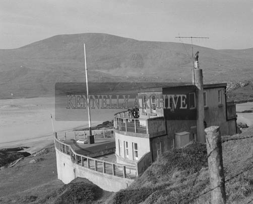 April 1964; The Ship-shaped summer home in Ballycarnahan, Caherdaniel of Mr. and Mrs. Francis Horgan of Macroom. The house can be seen from Derrynane, which is across the bay.