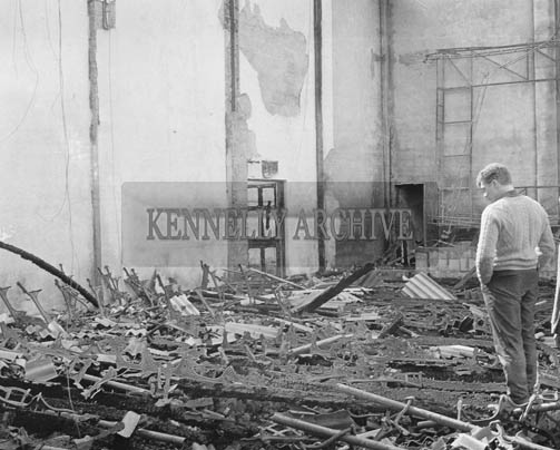 6th April 1964; A photo of the burnt-out remains of the Oisin Cinema in Killorglin.