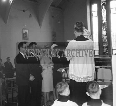 April 1964; A photo taken at the wedding of National School Teacher Noreen Dowling in Clogher Church, Ballymacelligott.
