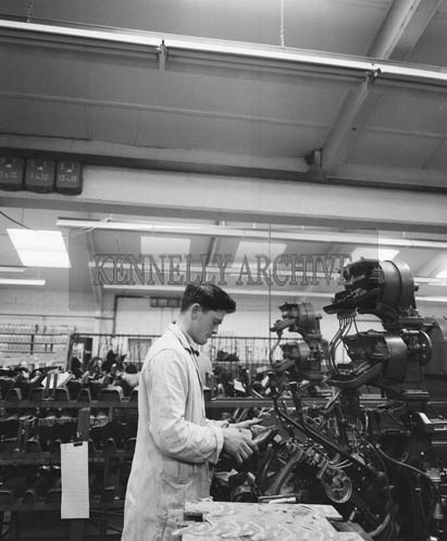 April 1964; A photo taken in the Traly Footware Factory in Tralee during a visit from 35 Irish and British Shoe Wholesalers.