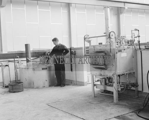 25th May 1964; A worker in the Kerry Precision Ball Bearing Company in Tralee. The factory was the first of its type in Ireland.