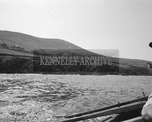 May 1964; A photo of fishermen on a trip to the Blasket Islands to demonstrate Ham Radios.