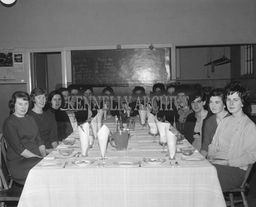 December 1964; A photo taken at the Christmas Dinner in Tralee Technical School.