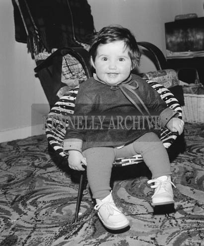 December 1964; A photo of Miss Horan in her home on her first birthday.