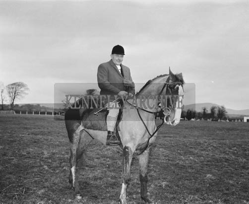29th December 1964; A man on a horse at the Kingdom Cup coursing meeting in Ballybeggan Park, Tralee.
