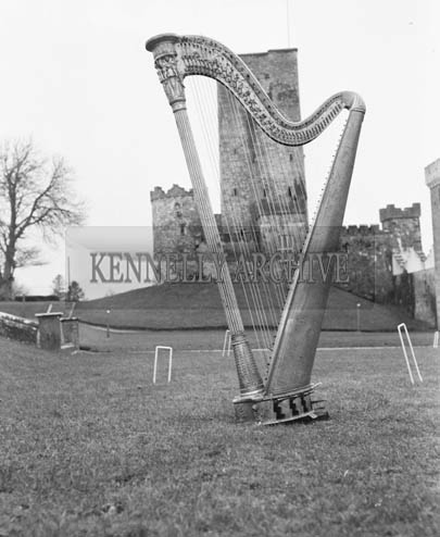 20th February 1966; The Padraig Pearse Harp, from his School, St Enda's, which was presented to Drishane Convent, Millstreet.