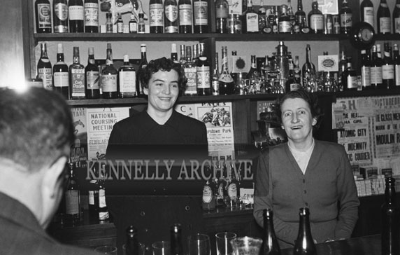 13th February 1954; Two Women Behind The Bar During After Hours At The Social & Economic Science Tech Graduation Dinner At Benners Hotel Tralee .