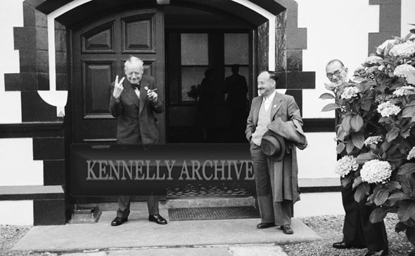 1953; Businessmen Standing Outside The Royal Hotel On Valentia Island.