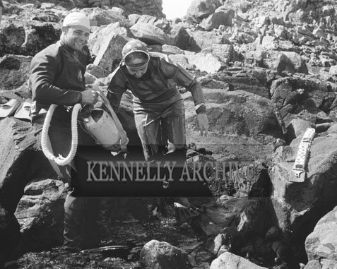 1953; Two Divers Checking Their Equipment On Valentia Island.