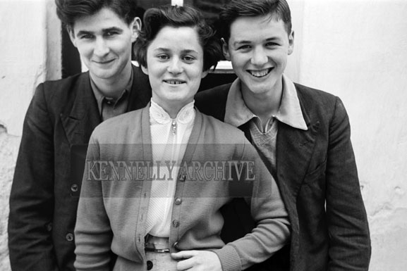 3rd May 1957; Jimmy and Anna Fitzgerald with Brendan Rohan (right) on Confirmation Day in Castlegregory.