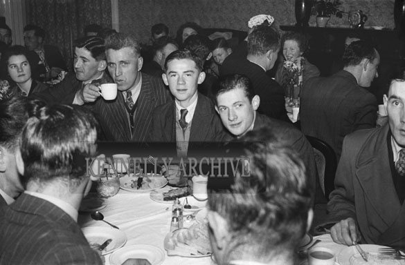 January 1954; A Group Posing At Their Table At The  Churchill Macra Na Feirme Social At The Meadowlands Hotel, Tralee.