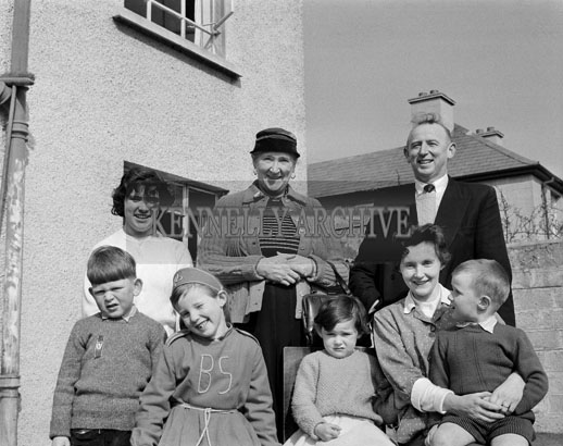 March 1962; Members of the McElligott Family pose for the camera at home in Oakpark.