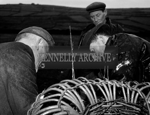 December 1962; A photo taken of a group of fishermen with oyster cages in Dunquin.