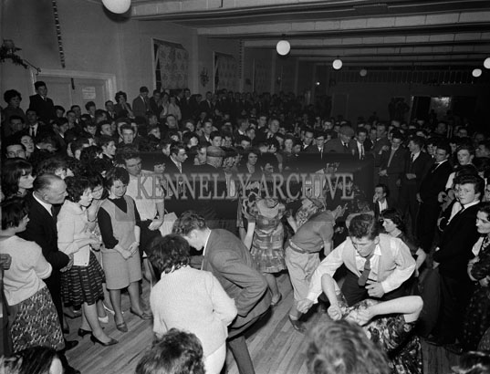 23rd December 1962; People enjoying the Twist Competition which took place during a dance in Firies.