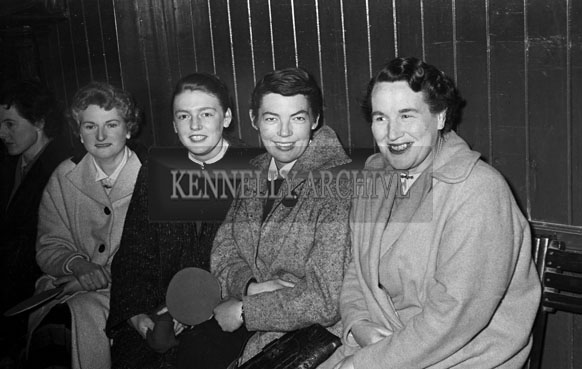 February 1957;  Joan Kennelly (second from right), at a table tennis tournament.