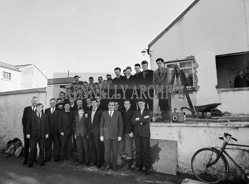 November 1964; West Kerry farmers and instructors outside the newly opened farm school in Dingle. The school was sponsored by The Dairy Disposal Board.