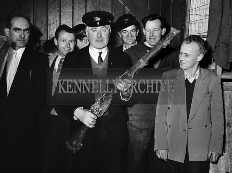 February 1964; A photo taken after a rifle was found underneath the floorboards in a goods store in the CIE yard in Tralee. The weapon was found to be harmless. Gardai said the rifle was a .303 service type, probably a relic from the war of Independence.