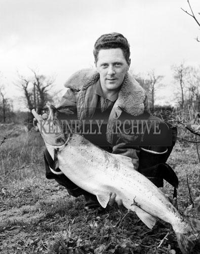 April 1964; A photo of Junior Doyle, Castlecountess, with a salmon.