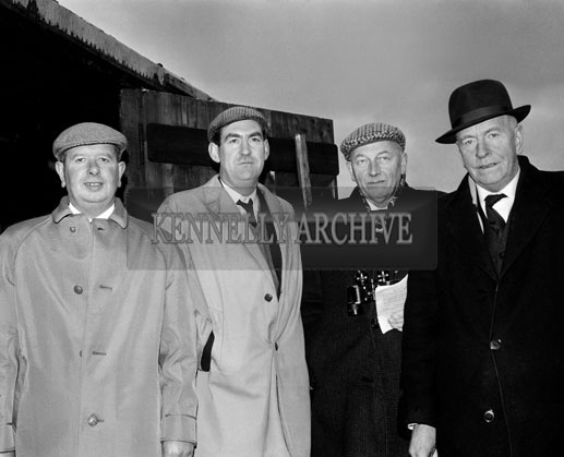 29th December 1964; A photo taken at the Kingdom Cup coursing meeting in Ballybeggan Park, Tralee. From left: Tom Harty, Joe Grace, Dick Chute, Gerald Bailey.